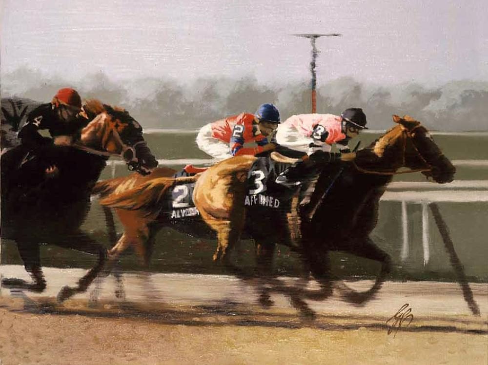 """1978 Belmont Stakes First Turn""  -  9"" x 12"" ""1978 Belmont Stakes First Turn"" - Misc  Art  Paintings"
