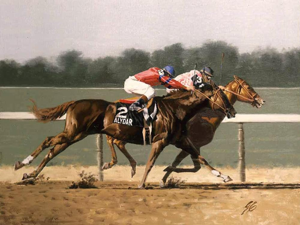 """1978 Belmont Stakes Fourth Turn ""  -  9"" x 12"" ""1978 Belmont Stakes Fourth Turn "" - Misc  Art  Paintings"