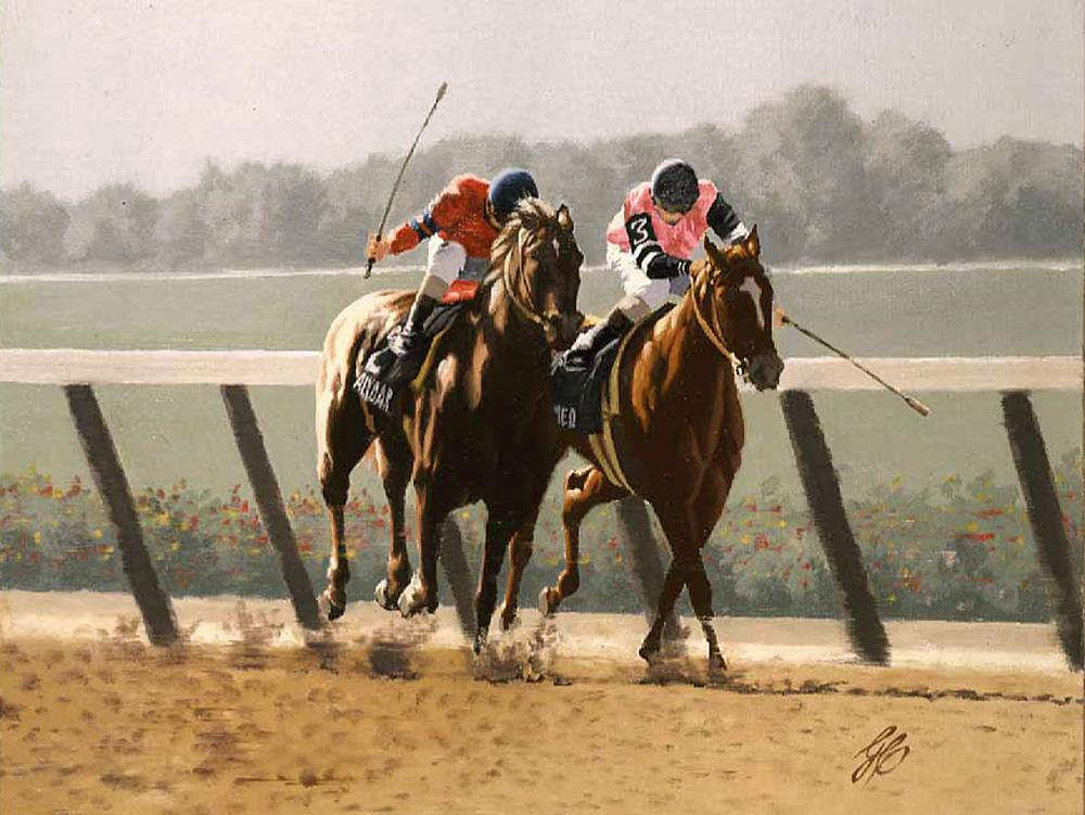 """1978 Belmont Stakes Home Stretch ""  -  9"" x 12"" ""1978 Belmont Stakes Home Stretch"" - Misc  Art  Paintings"