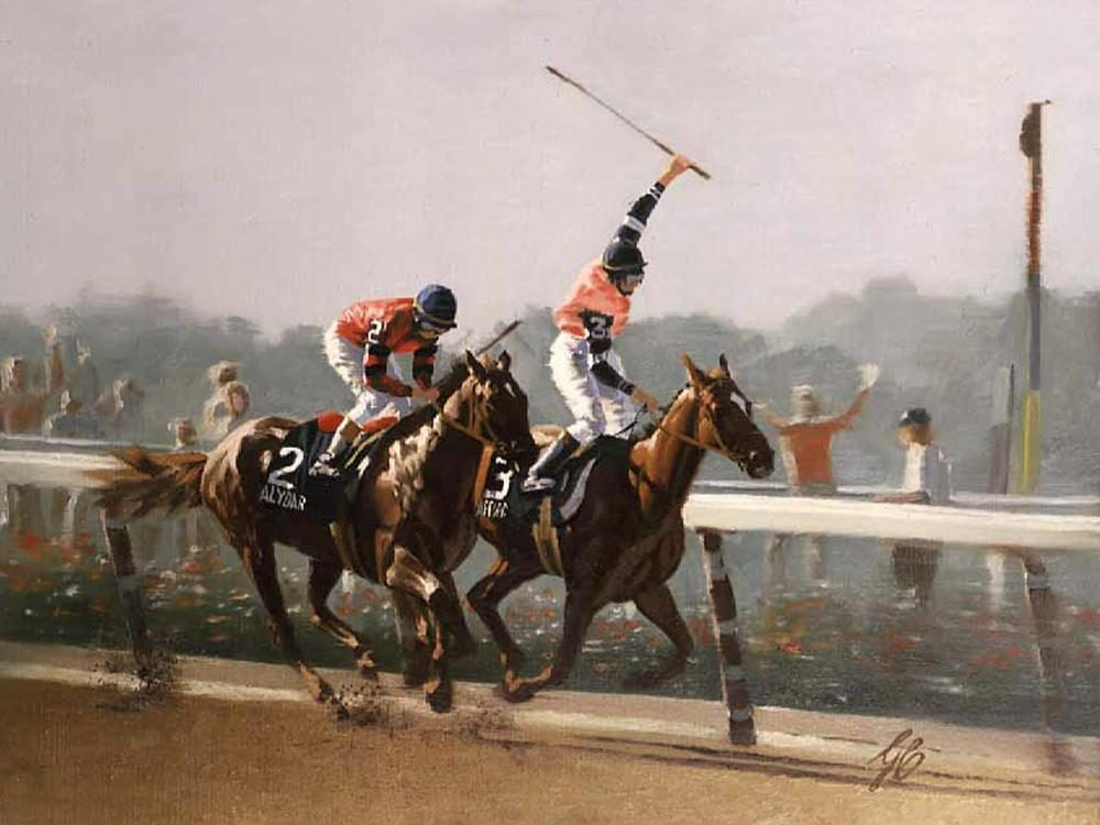 """1978 Belmont Stakes The Win ""  -  9"" x 12"" ""1978 Belmont Stakes The Win "" - Misc  Art  Paintings"