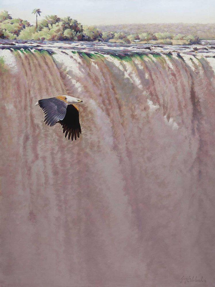 "African Fish Eagle/Vic Falls  -  36"" x 48"" ""African Fish Eagle""  Birds of Prey  Raptors"