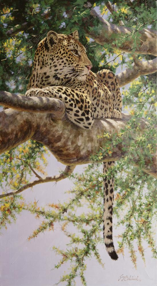"""Always Aware""  -  44"" x 24"" ""Always Aware"" - Leopards  Leoparp Paintings  Leopard Art"
