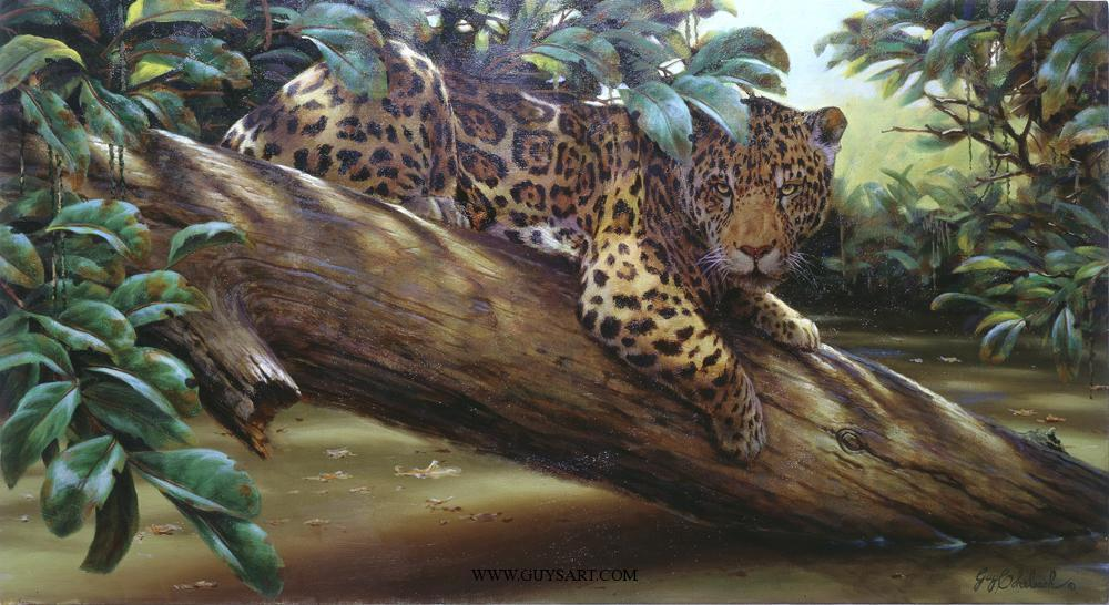 """Amazon Ambush""   -  24"" x 44"" ""Amazon Ambush"" - American Cats  American wild cats  Wild Felines of America"