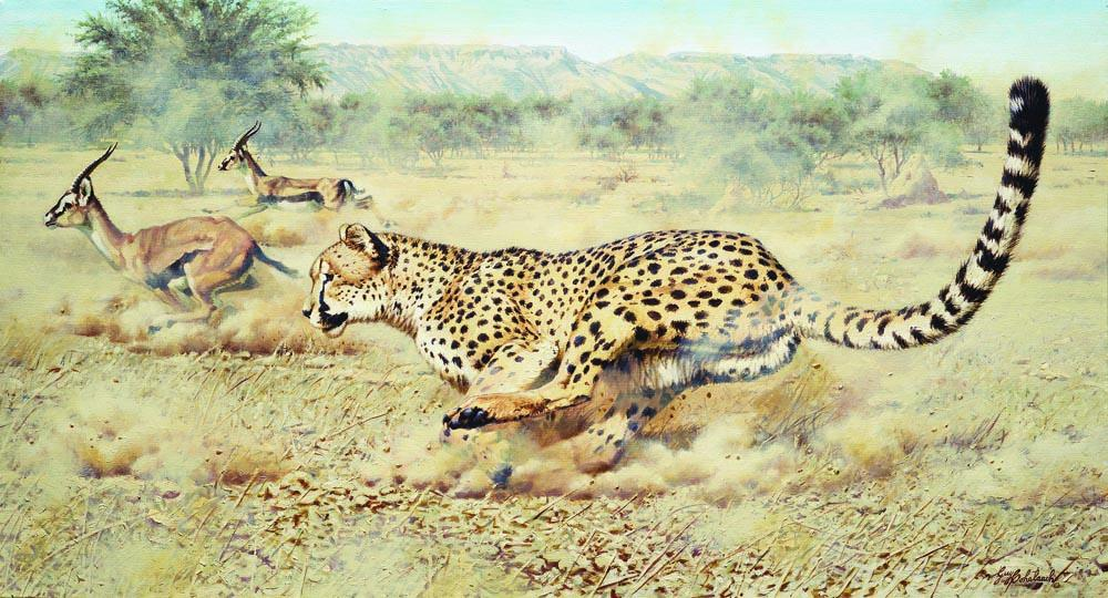 """Angels Chase""  -  24"" x 44"" ""Angels Chase"" - Cheetahs   Cheetah  cheeta"