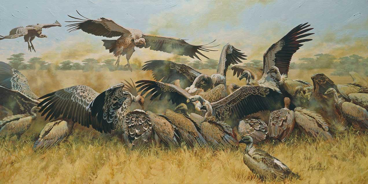 """Attorneys and Bankers""  -  36"" x 72"" ""Attorneys and Bankers""  Birds of Prey  Raptors"