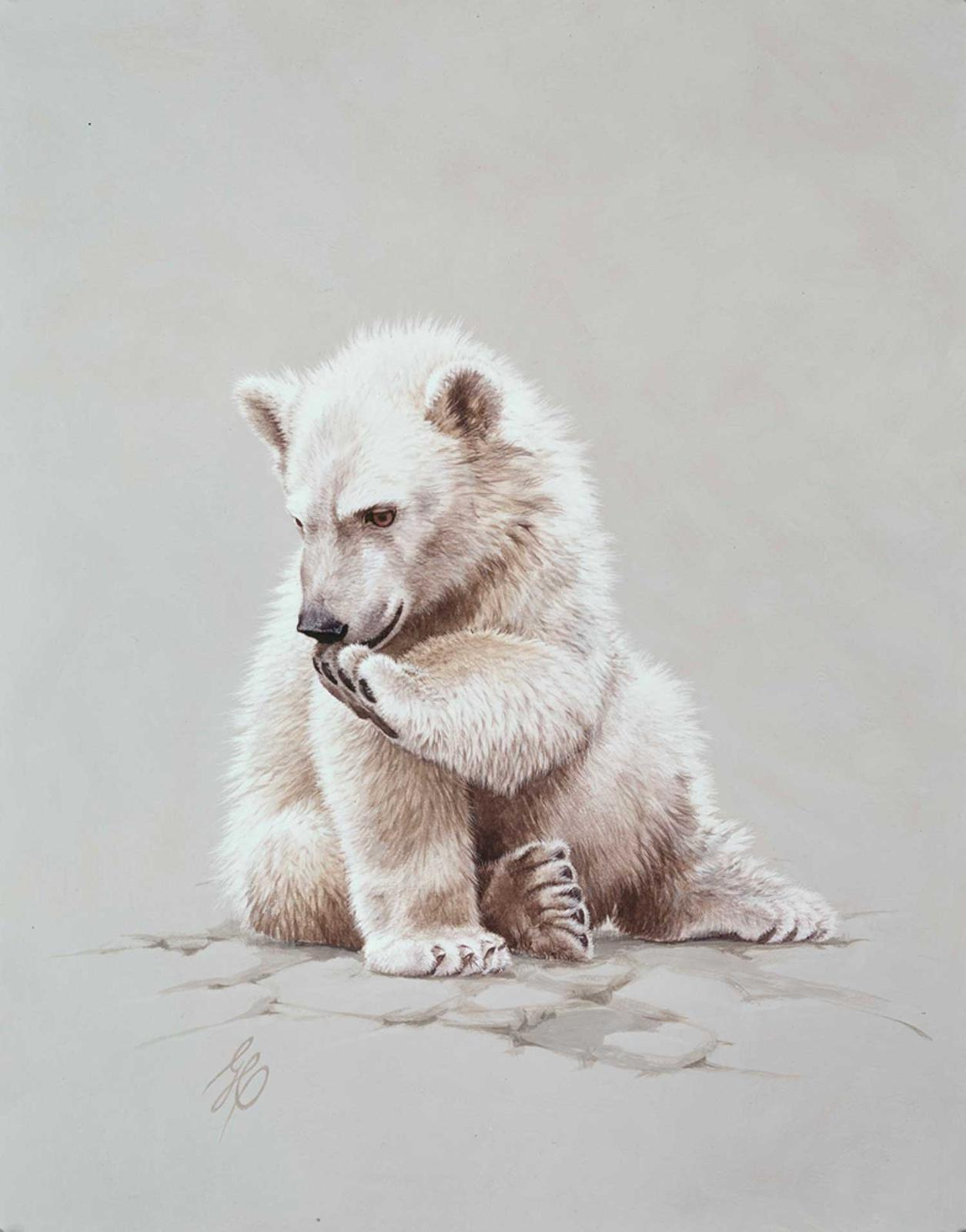"""""""Baby Polar Bear""""  -  20"""" x 16"""" """"Baby Polar Bear"""" - Critters  Small Game Paintings  Small Animals in Art"""