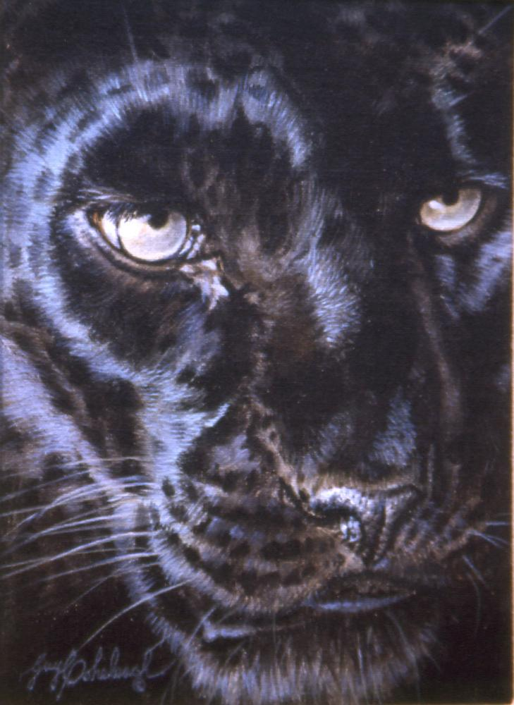 """Black Leopard Eyes""   -  12"" x 9"" ""Black Leopard Eyes"" - Portraits  Big Cat Heads  Cat Head Paintings"