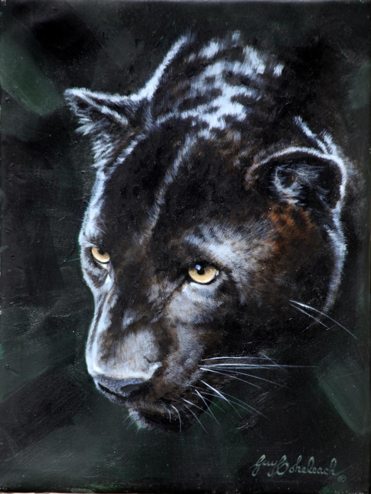 """Black Leopard Portrait SCI""  -  12"" x 9"" ""Black Leopard Portrait SCI"" - Leopards  Leoparp Paintings  Leopard Art"