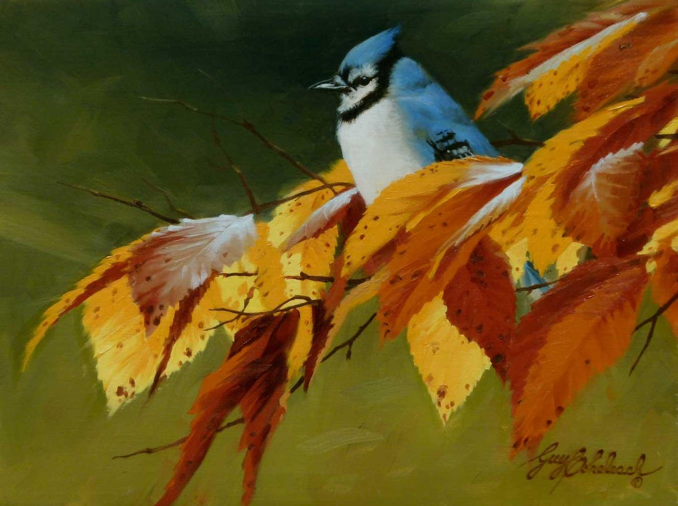 """Blue Jay/Fall"" - Fall  -  9"" x 12"" ""Blue Jay"" - Birds  Song Birds  Game Birds"