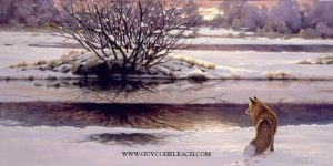 """Captree Dusk""  -  15"" x 30"" ""Captree Dusk"" - Canine  Wild Canine Paintings  Wolf and Fox Artwork"