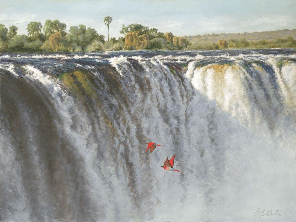 """Victoria Falls Carmine Bee-Eaters""  -  30 "" x 40"" ""Carmine Bee-Eaters"" - Water Birds  Waterfowl Paintings  Waterbird Paintings"