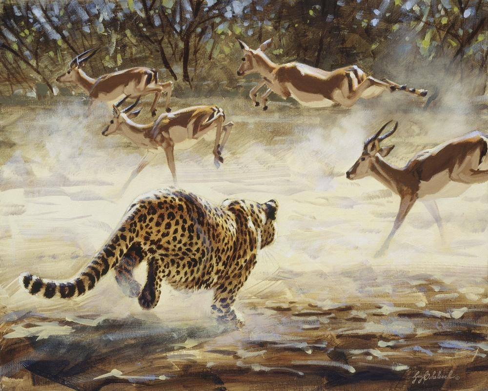 """Chobe Chase""  -  16"" x 20"" ""Chobe Chase"" - Leopards  Leoparp Paintings  Leopard Art"