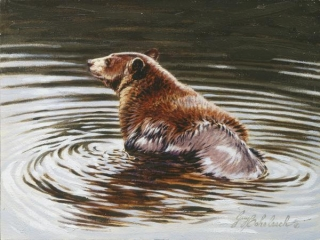 """""""Cinnamon Bath"""" 9x12 oil painting disappeared in North Carolina in the 1990s."""