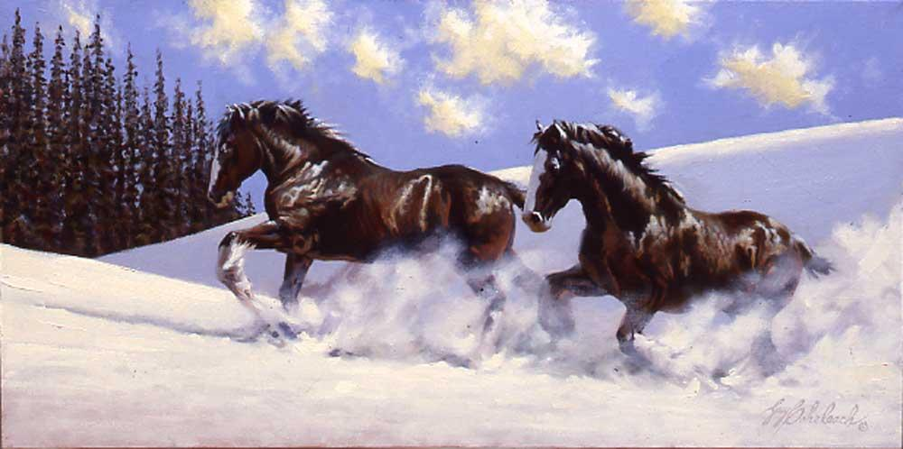 """Clydesdale Snow""  -  15"" x 30"" ""Clydesdale Snow"" - Misc  Art  Paintings"