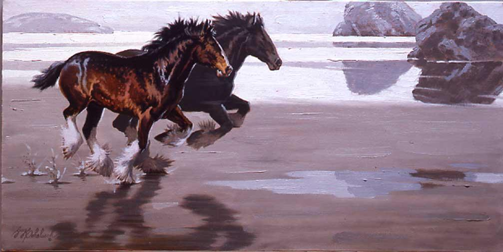 """Clydesdales Beach""  -  15"" x 30"" ""Clydesdales Beach"" - Misc  Art  Paintings"