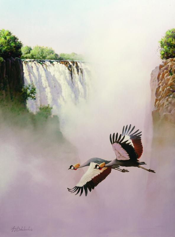 """African Crowned Crane Vic Falls""  -  40"" x 30"" ""Crowned Crane"" - Water Birds  Waterfowl Paintings  Waterbird Paintings"