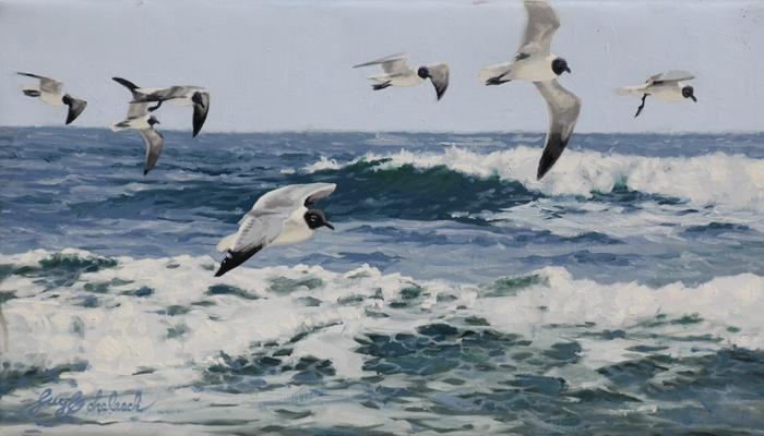 """Cruising Gulls""  -  8"" x 14"" ""Cruising Gulls"" - Water Birds  Waterfowl Paintings  Waterbird Paintings"