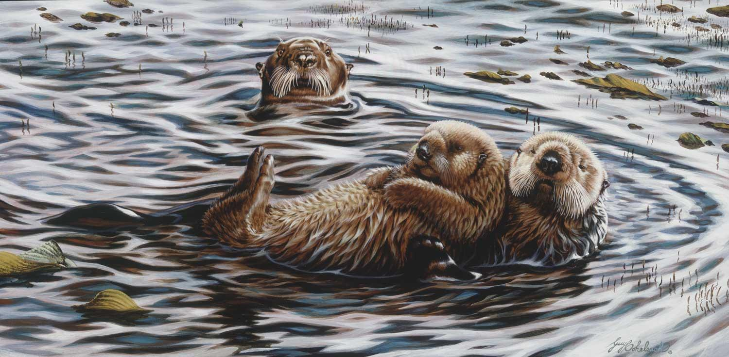 """""""Drying Out""""  -  15"""" x 30"""" """"Drying Out"""" - Critters  Small Game Paintings  Small Animals in Art"""