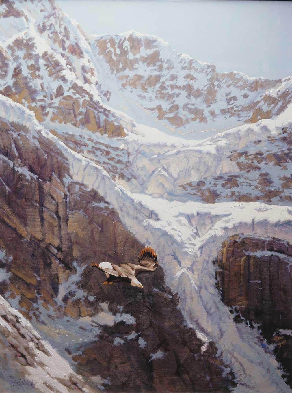"""""""Eagle Glacier""""  -  48"""" x 36"""" """"Eagle Glacier""""  Birds of Prey  Raptors"""