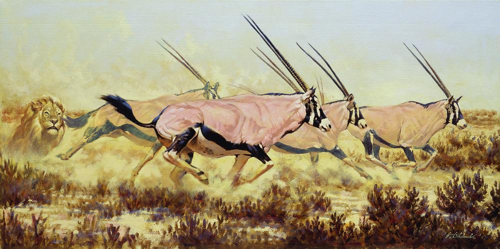 """""""Etosha Chase""""  -  24"""" x 44"""" """"Etosha Chase"""" - Lions  Lion Art  Lion Paintings"""
