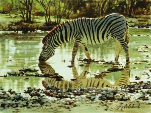 """Etosha Zebra Sketch""  12"" x 9"" ""Etosha Zebra Sketch""  - African Game  African Game Paintings  Plains Game Art"
