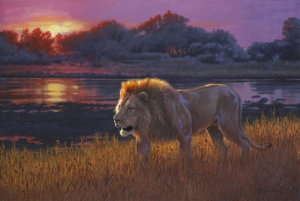 """Evening Patrol""  -  24"" x36"" ""Evening Patrol"" - Lions  Lion Art  Lion Paintings"