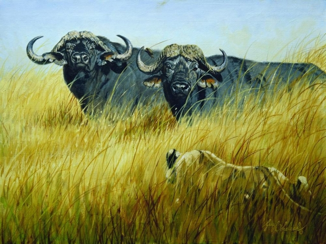 "Expensive Meal Sketch<BR>22 X 38 ""Expensive Meal"" - African Game  African Game Paintings  Plains Game Art"