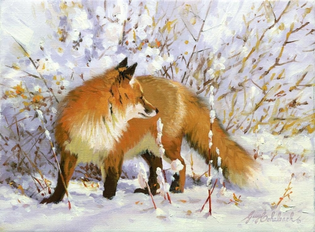 """Fox in Snowfield""  -  9"" x 12"" ""Fox in Snowfield"" - Canine  Wild Canine Paintings  Wolf and Fox Artwork"