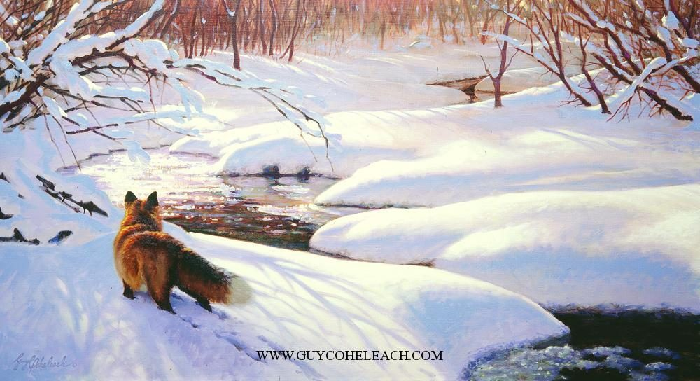 """Foxwalk II""  -  15"" x 30"" ""Foxwalk II"" - Canine  Wild Canine Paintings  Wolf and Fox Artwork"