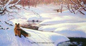 """Foxwalk II""  -  15"" x 30"" ""Foxwalk II"" - Canine  Wild Canine Paintings  Wolf and Fox Artwork"