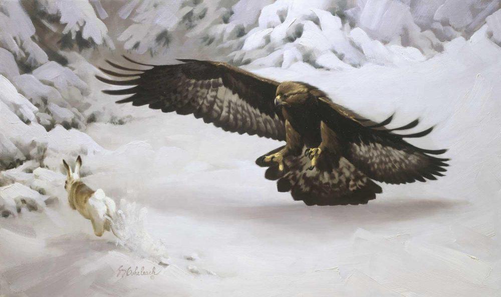 """Haree Moment""  -  36"" x 72"" ""Haree Moment""  Birds of Prey  Raptors"