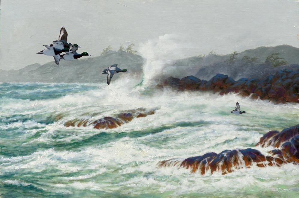 """Heading Inland""  -  24"" x 36"" ""Heading Inland"" - Water Birds  Waterfowl Paintings  Waterbird Paintings"