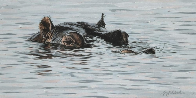 """""""Hippo""""<BR>12 X 24 """"Hippo"""" - African Game  African Game Paintings  Plains Game Art"""
