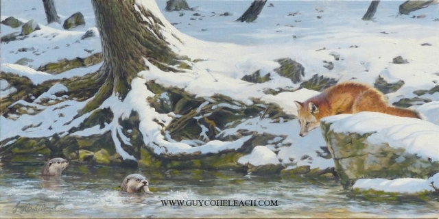 """In Your Dreams Mr. Fox""  -  15"" x 30"" ""In Your Dreams Mr. Fox"" - Canine  Wild Canine Paintings  Wolf and Fox Artwork"