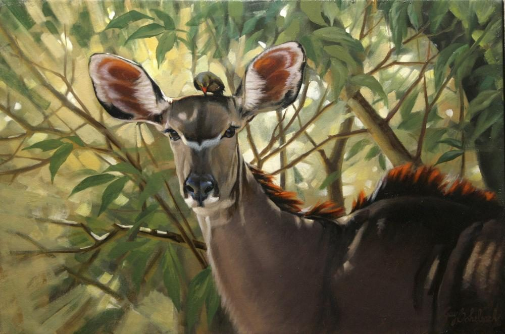 "Kudu / Oxpecker <BR>20 X 30 ""Kudu / Oxpecker"" - African Game  African Game Paintings  Plains Game Art"