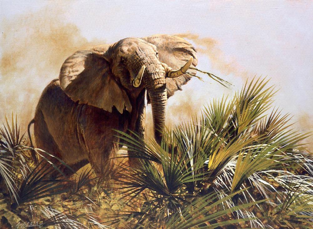 """Last Ivory Hunter""  -  24"" x 31""  ""Last Ivory Hunter"" - Elephants  Elephant Paintings  Elephant Art"