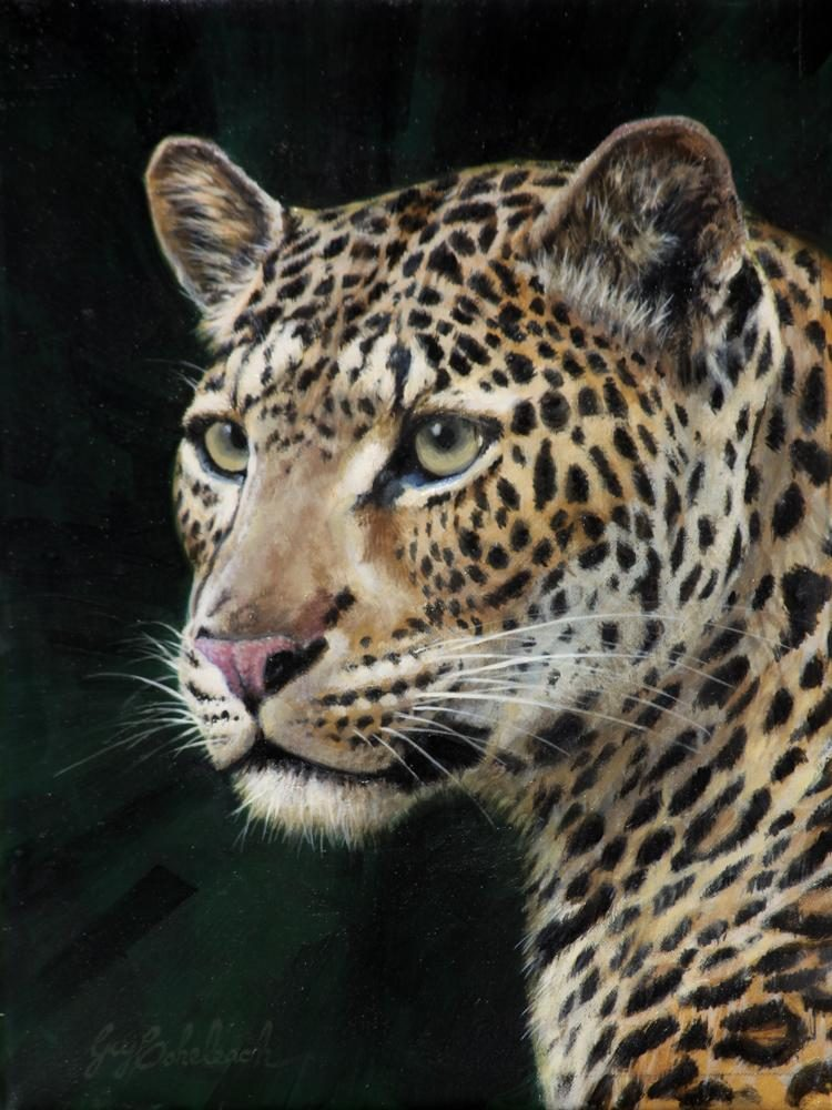 """Leopard Portrait RHA"" -  12"" x 9"" ""Leopard Portrait RHA"" - Portraits  Big Cat Heads  Cat Head Paintings"