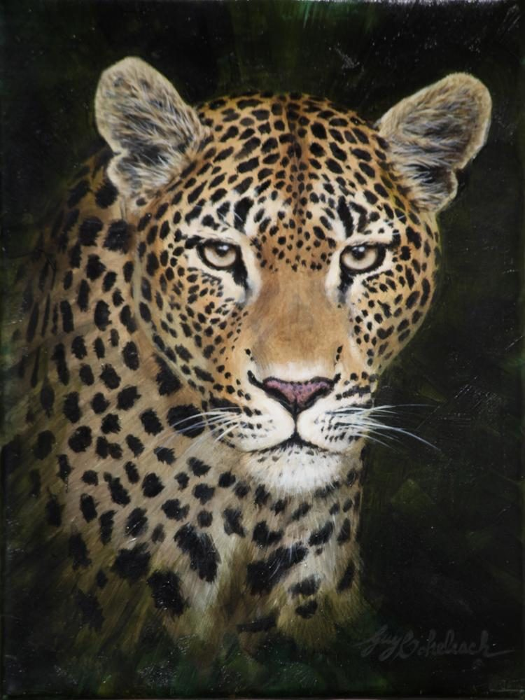 """Leopard Portrait RFL""  -  12"" x 9"" ""Leopard Portrait raf"" - Portraits  Big Cat Heads  Cat Head Paintings"