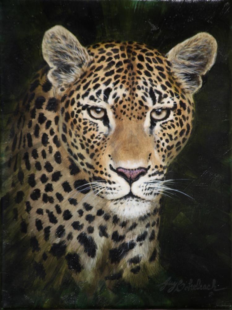 """Leopard Portrait RFL""  -  12"" x 9"" ""Leopard Portrait raf"" - Portraits  Big Cat Heads  Cat Head Paintings"