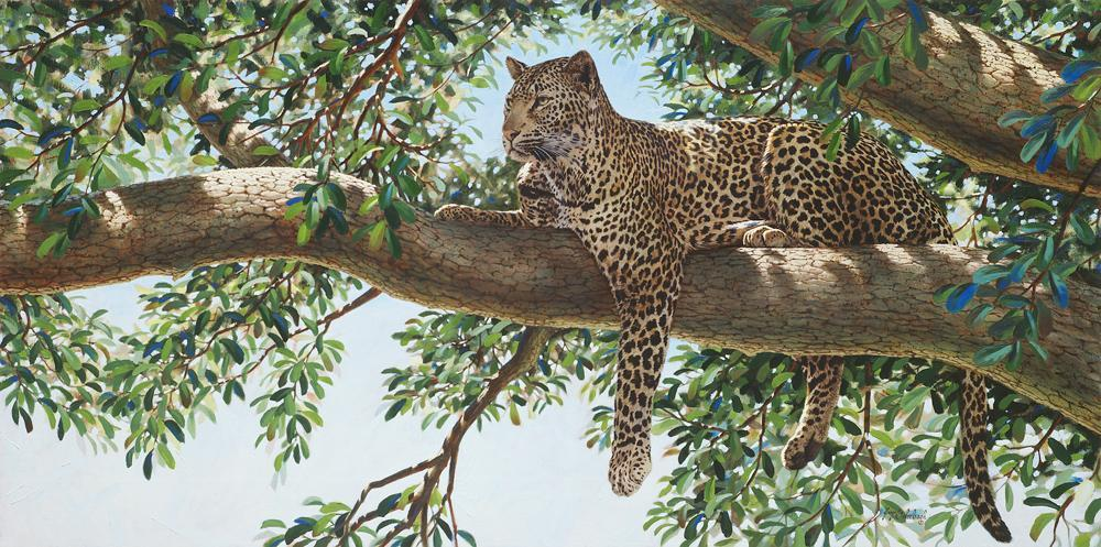 """Liquid Leopard"" - by Guy Coheleach - Prints - K&K Wildlife Art"