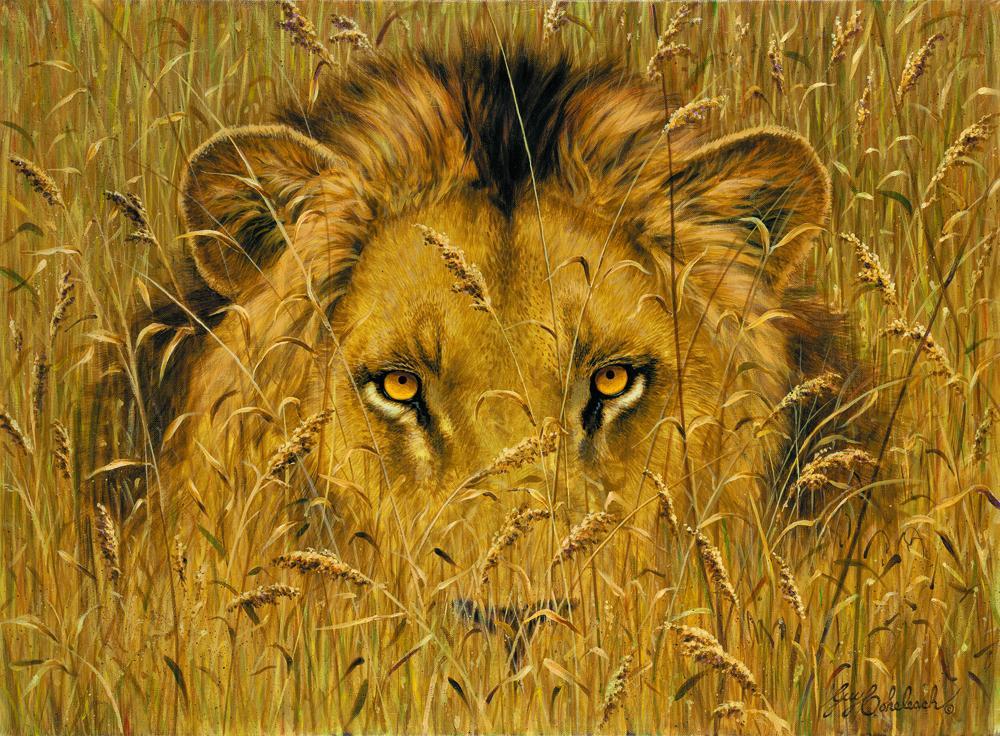 """Lion Eyes""  -  20"" x 28"" ""Lion Eyes"" - Portraits  Big Cat Heads  Cat Head Paintings"