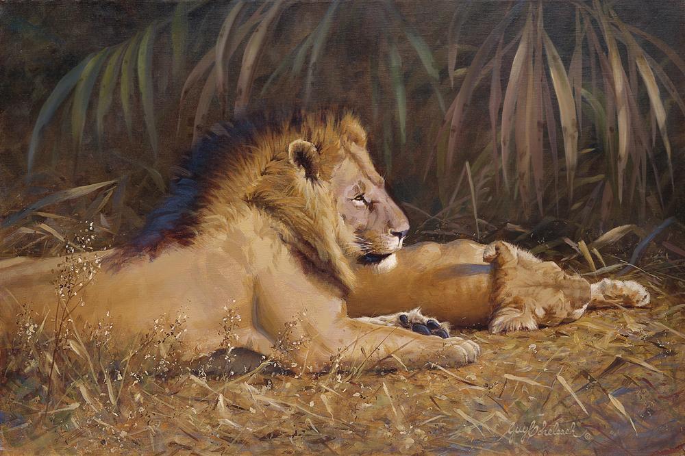 """Lion Pair Siesta"" - 24"" x 36"" ""Lion Pair Siesta""  recent painting  newest artwork"