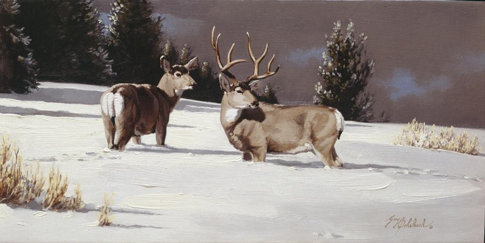 """Long Shadows""   -  24"" x 12"" ""Long Shadows"" - American Game  American Big Game  American Prey Animals"