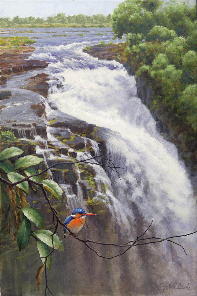 """Victoria Falls - Devil's Cataract Malachite Kingfisher""  -  36"" x 24 ""Malachite Kingfisher"" - Water Birds  Waterfowl Paintings  Waterbird Paintings"