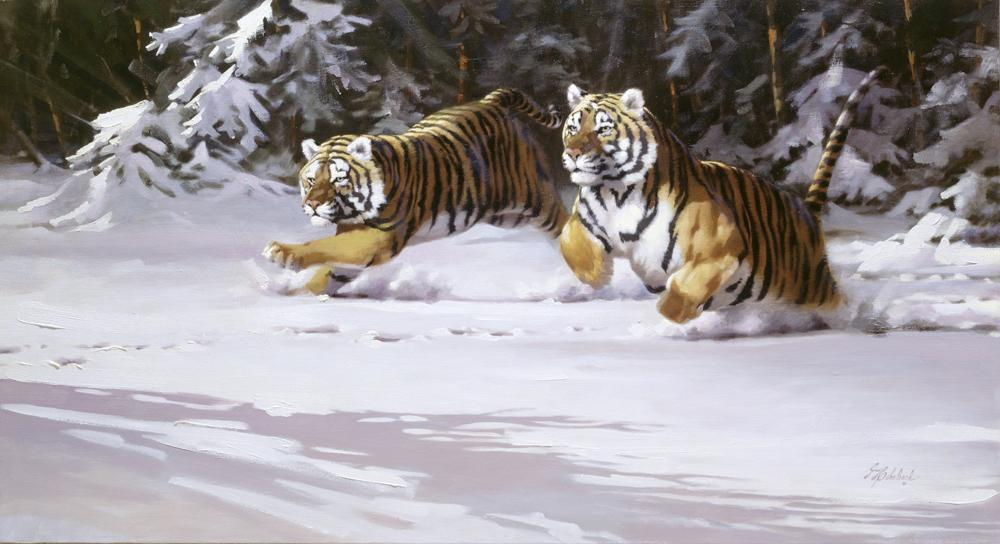 """Manchurian Chase""  -  24"" x 44"" ""Manchurian Chase"" - Tigers  Bengal Tiger  Siberian Tiger"