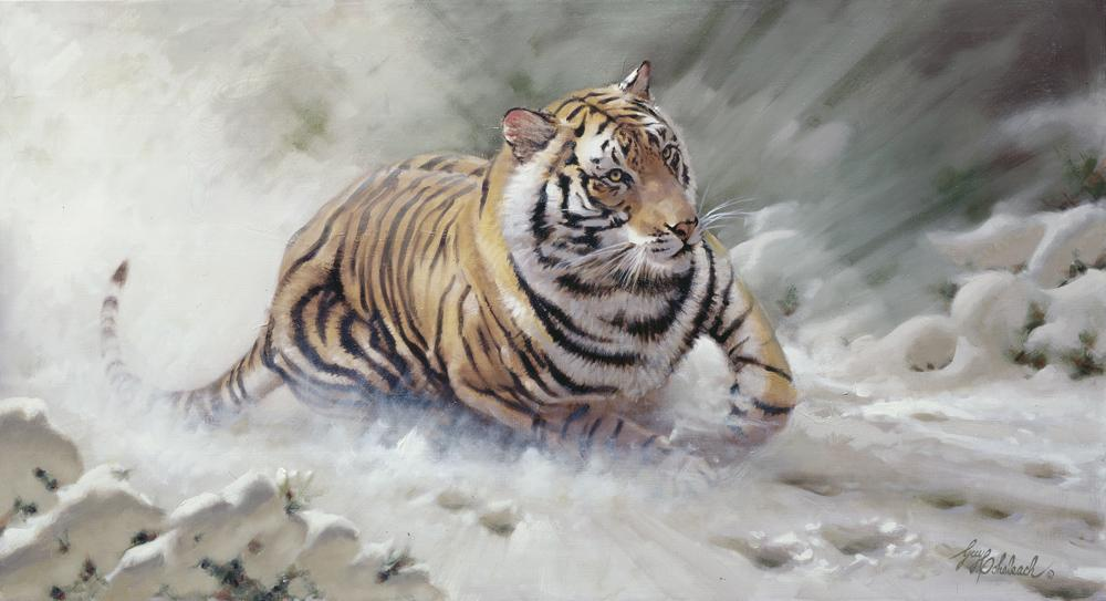 """Manchurian Pursuit""  -  24"" x 44"" ""Manchurian Pursuit"" - Tigers  Bengal Tiger  Siberian Tiger"