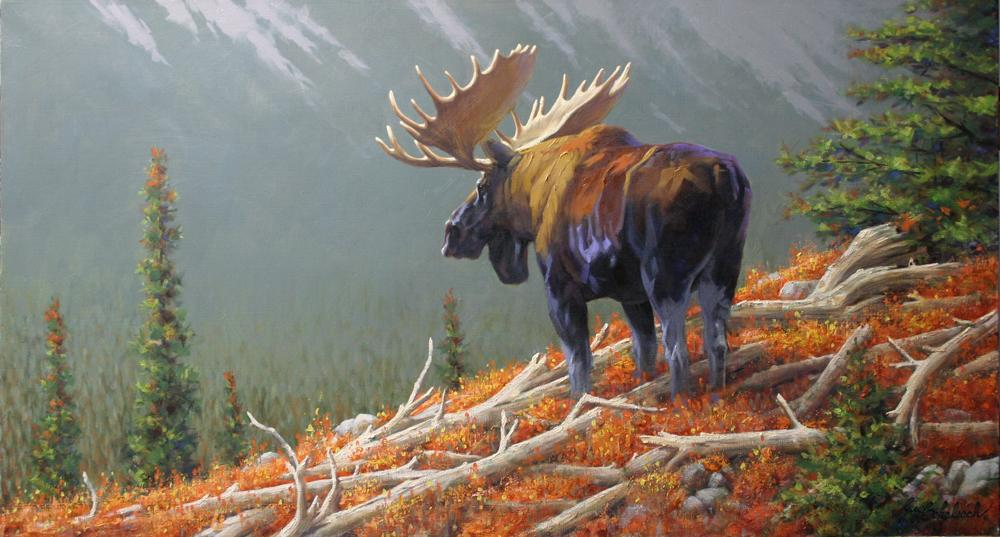 """Moose Valley""  -  30"" x 50"" ""Moose Valley"" - American Game  American Big Game  American Prey Animals"