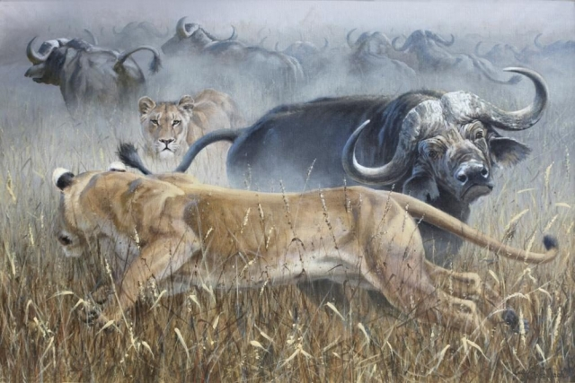 "Not So Merry Go Round<BR>24 X 36 ""Not So Merry Go Round"" - African Game  African Game Paintings  Plains Game Art"