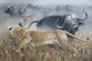 "Not So Merry Go Round24 X 36 ""Not So Merry Go Round"" - African Game  African Game Paintings  Plains Game Art"