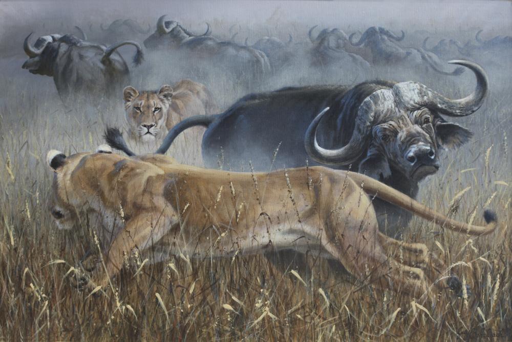 """""""Not So Merry Go Round""""  -  24"""" x 36"""" """"Not So Merry Go Round"""" - Lions  Lion Art  Lion Paintings"""